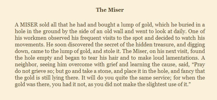Chris Reich of TeachU offers this story from AESOP to illustrate the value of talent.