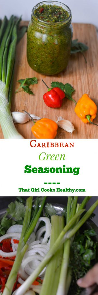 Homemade green seasoning is the foundation for many Trinidadian cuisines