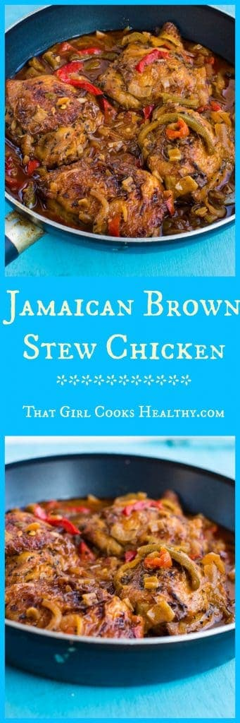 Jamaican brown stew chicken in skillet