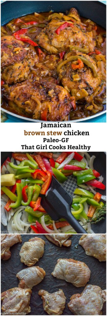 jamaican brown stew chicken in skillet, peppers and onions in skillet