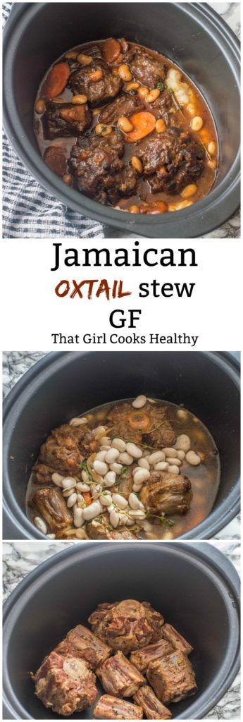 Jamaican oxtail stew in slow cooker with butter beans