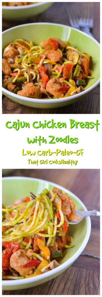 This spicy chicken with vegetable noodles dish is low carb, gluten free and comes together in 30 minutes