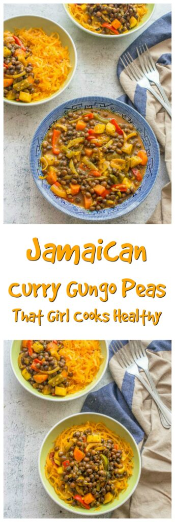 Delicious Jamaican curry is made using gungo peas on a bed of butternut squash noodles