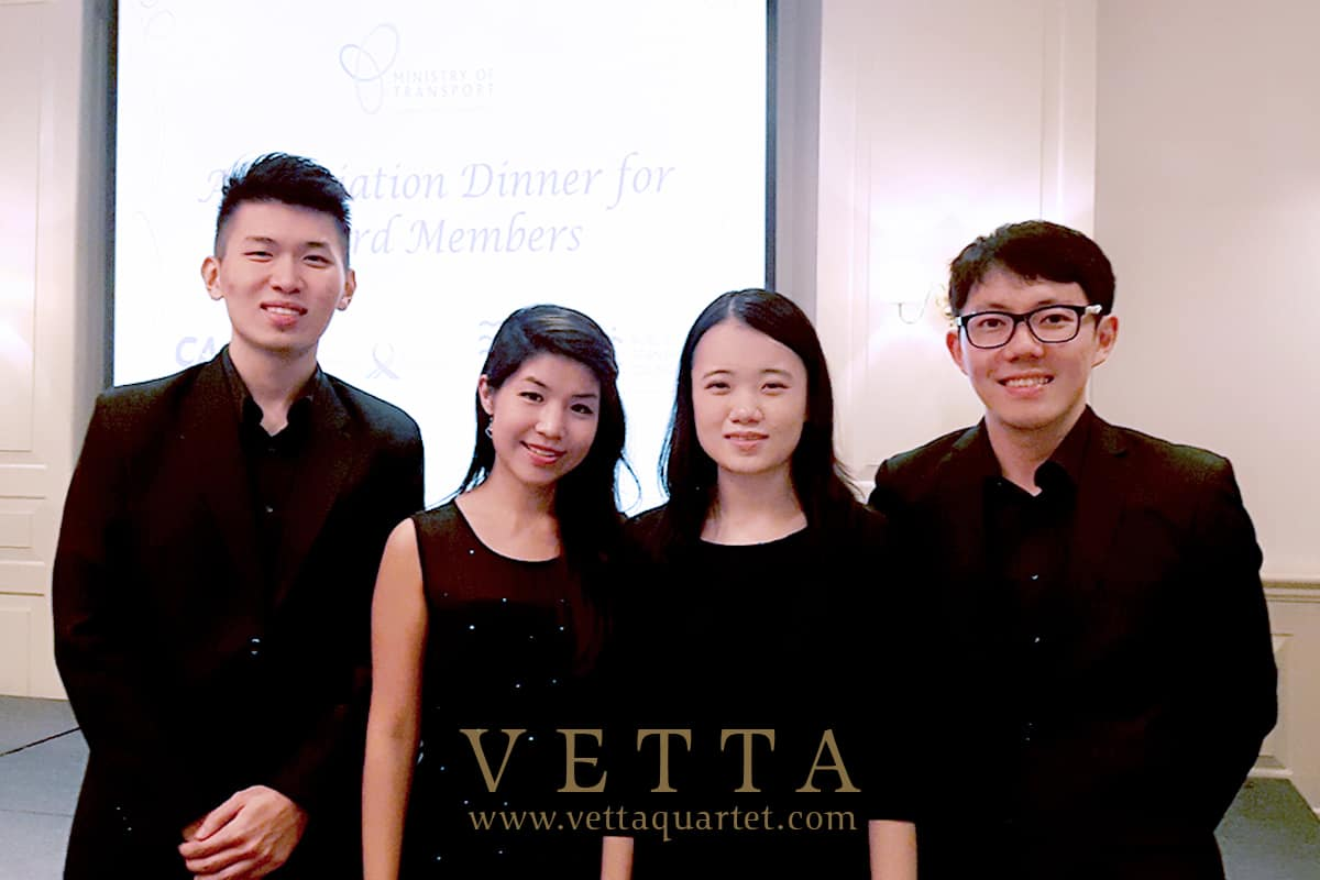 String Quartet for Dinner Event by Ministry of Transport at Raffles Hotel