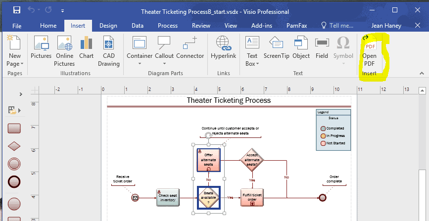 insert pdf in visio installs on the main menu
