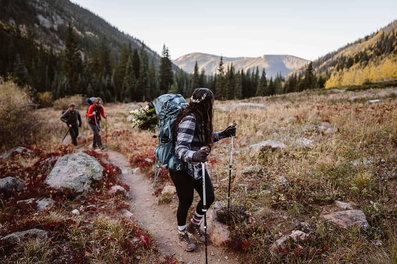 Bride Hiking in Fall Hiking Adventure Elopement