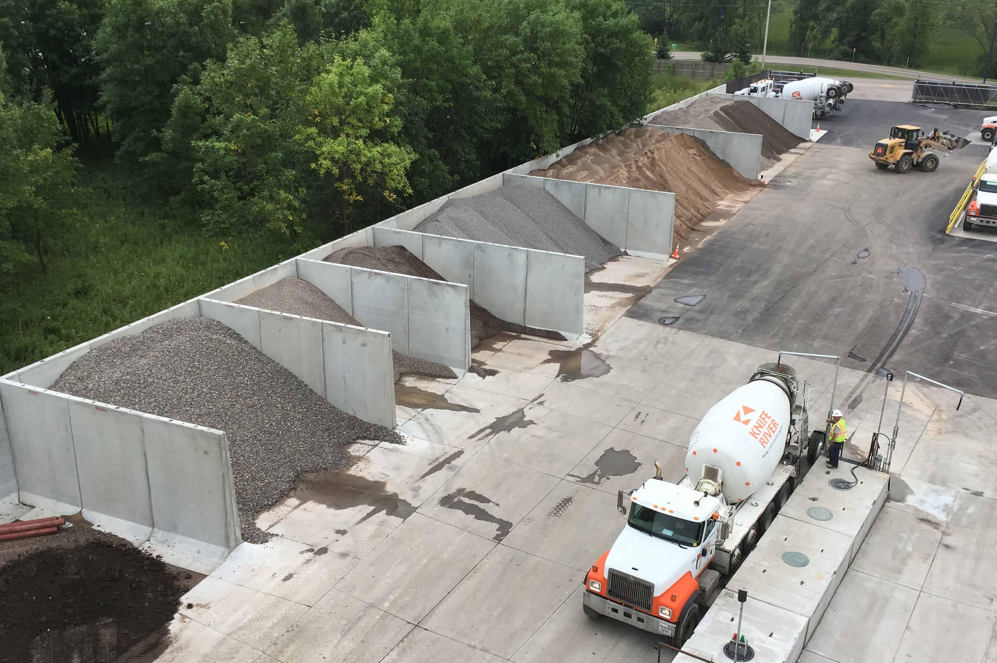 Knife River Ready Mix Plant Aggregate Storage Bunker Silos 2 Precast Concrete