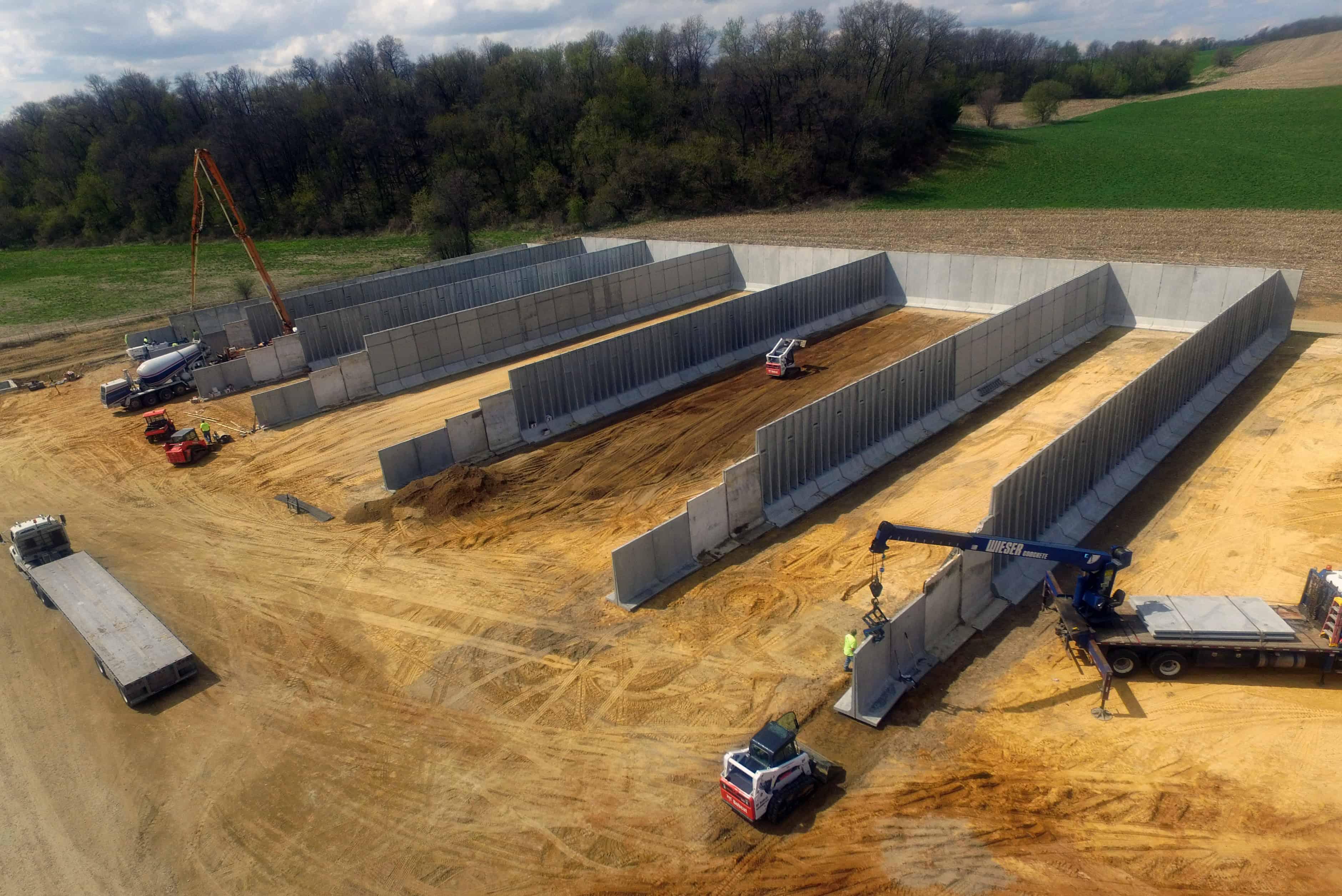 Maliszewski Dairy Precast Concrete Bunker Silos Install