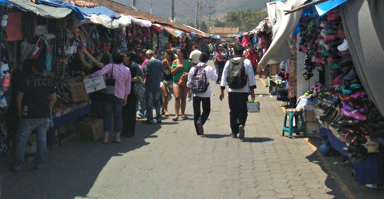 outdoor market in Antigua