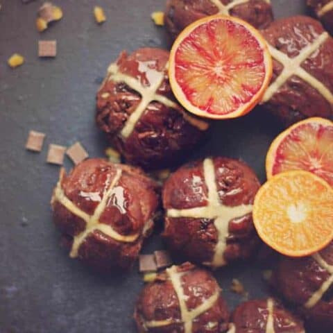 Hot cross buns made with chocolate and orange