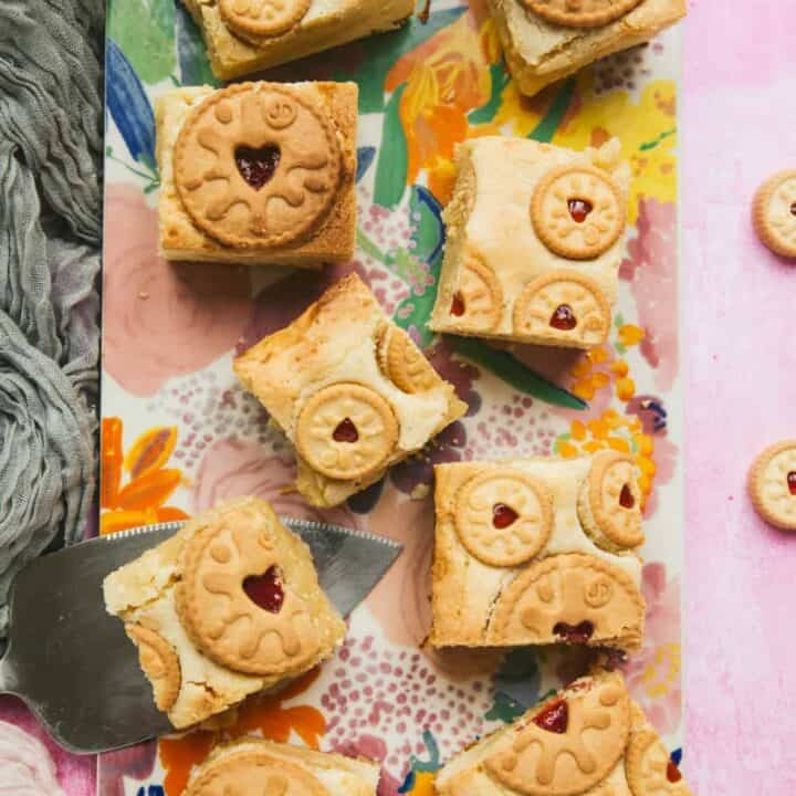 Overhead of Jammie Dodger Blondies