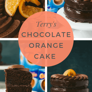 A collage of pictures with a chocolate orange cake.