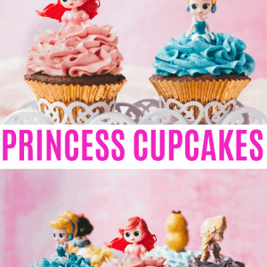 Disney Princess Cupcakes Pinterest image with text overlay.