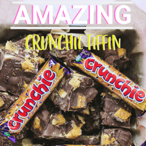 Pinterest image for Crunchie Tiffin recipe