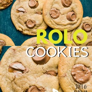Rolo Cookies Pinterest image with text overlay.