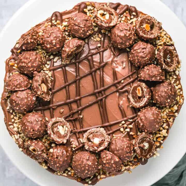 Overhead view of a Ferrero Rocher cheesecake