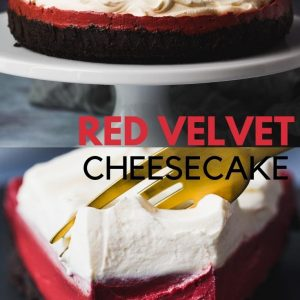 Red Velvet Cheesecake Pinterest image with text overlay.