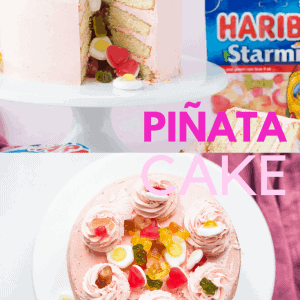 HARIBO Piñata Cake Pinterest image with text overlay.