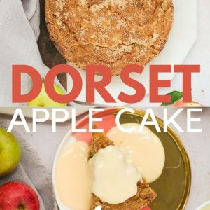 Pinterest image for a Dorset Apple Cake recipe with a text overlay.