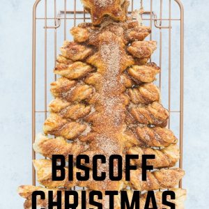 A Biscoff Christmas Tree with text overlay for Pinterest.