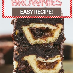 A stack of three brownies with a mince pie in the middle of each brownie. Pinterest image with text overlay.