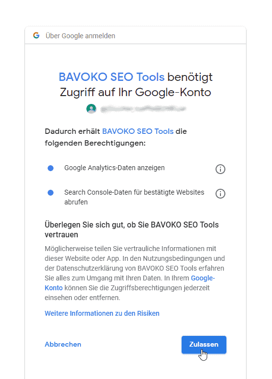 Google Search Console Connection: Step 3