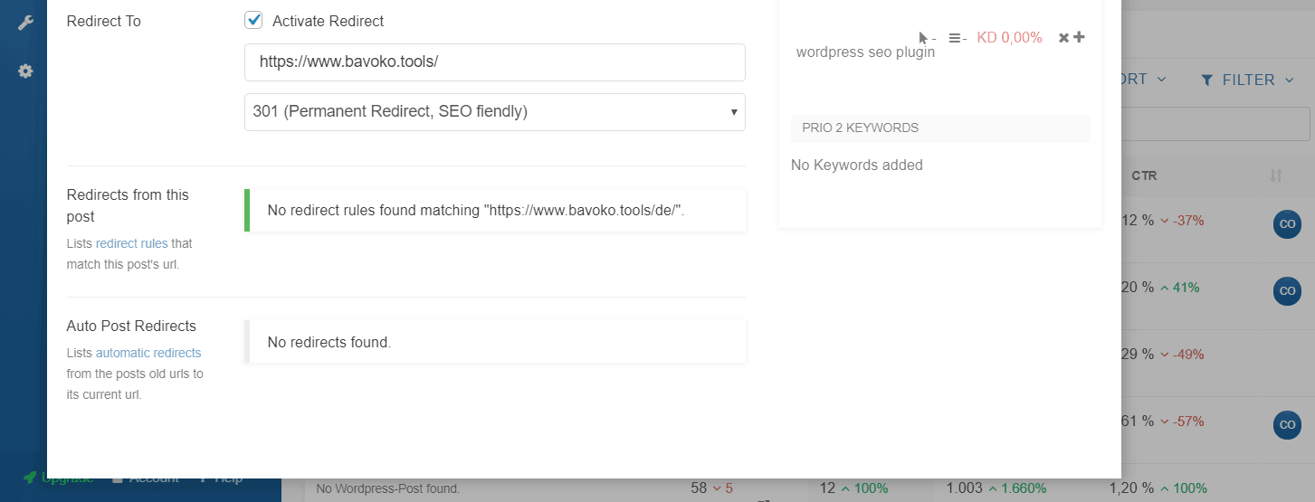 Easily redirect WordPress posts and pages using the the Content Optimizer in BAVOKO SEO Tools