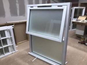 window with frosted glass on workshop floor