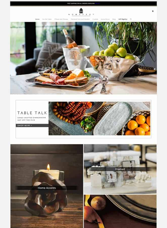 Homefest Decor' Web Store Home Page