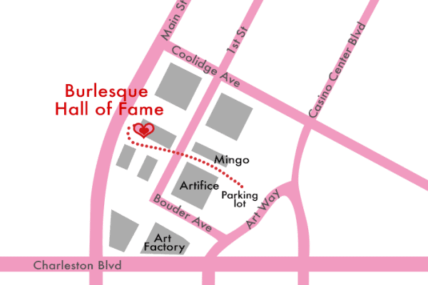 Map of BHoF area showing Art Square parking
