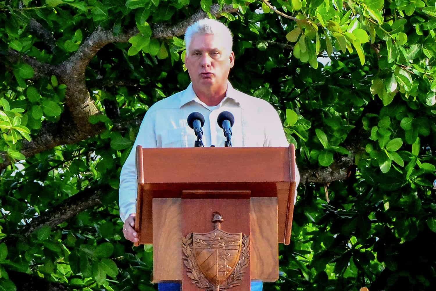 Cuban President Miguel Diaz-Canel, delivers a speech during the celebrations for the 150th anniversary of the beginning of the independence war against Spain, in La Demajagua farm, Manzanillo, Granma province some 750 kilometers east of Havana, on October 10, 2018. (Photo by STR / AFP)