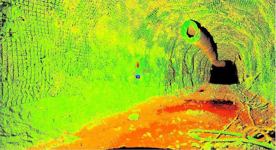 underground laser scan at New Afton mine