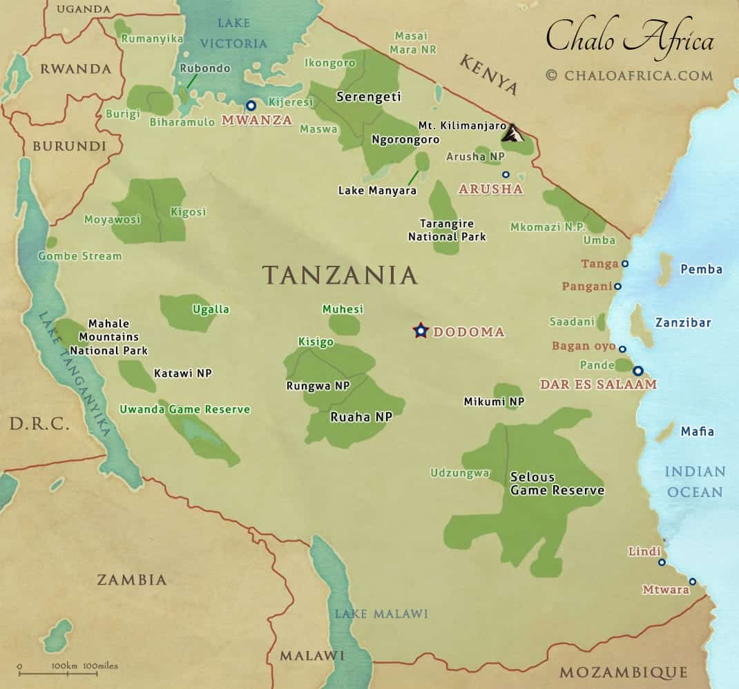 Tanzania Safari Map