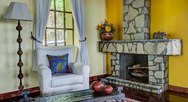 Virunga Lodge Fireplace