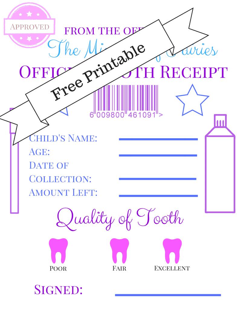 free tooth fairy receipt printable
