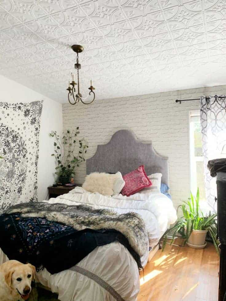 showing ceiling tile installed on bedroom ceiling