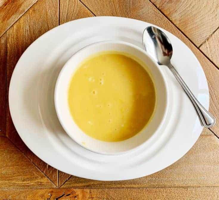 bowl of honey mustard on white platter