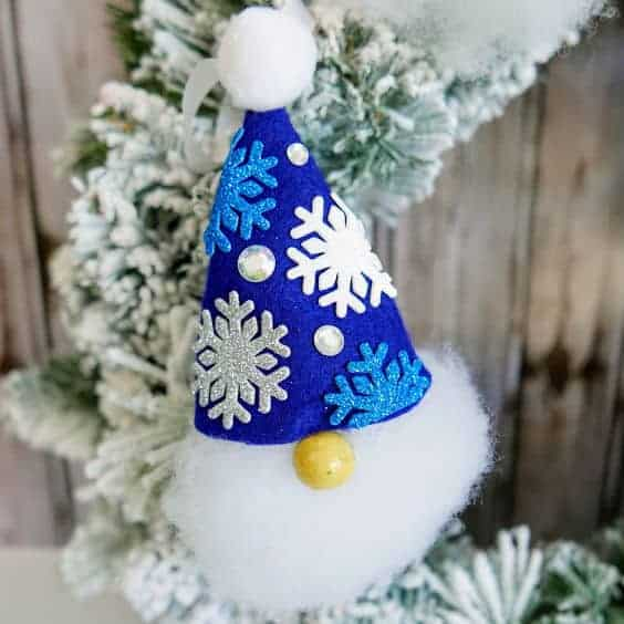gnome ornament with blue hat