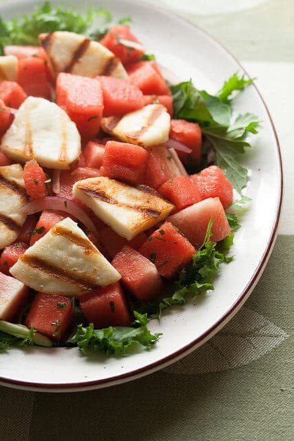 Thrill of the Grill: Watermelon Salad with Grilled Haloumi Cheese