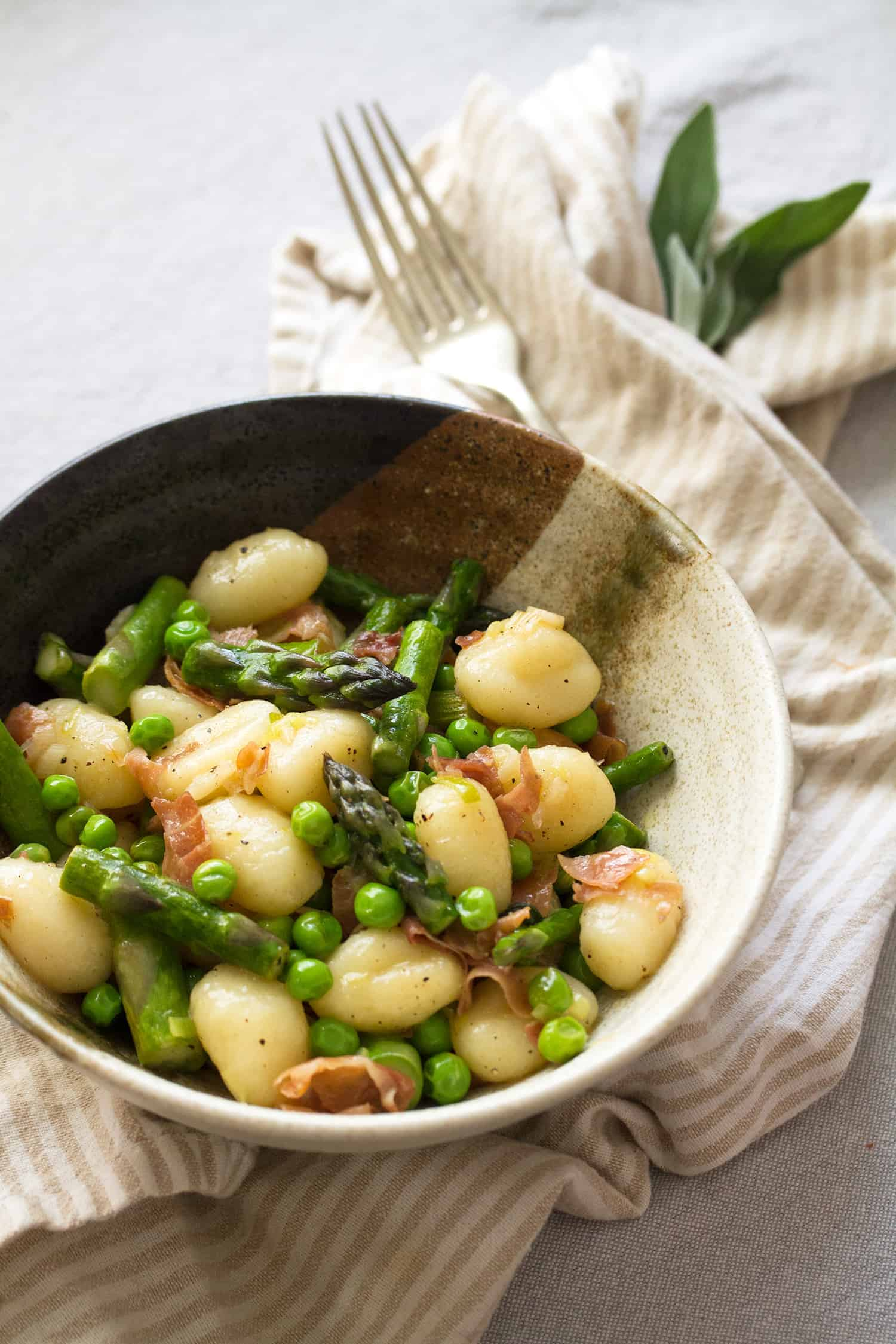 Kick Some Asparagus: Brown Butter Gnocchi with Asparagus and Peas