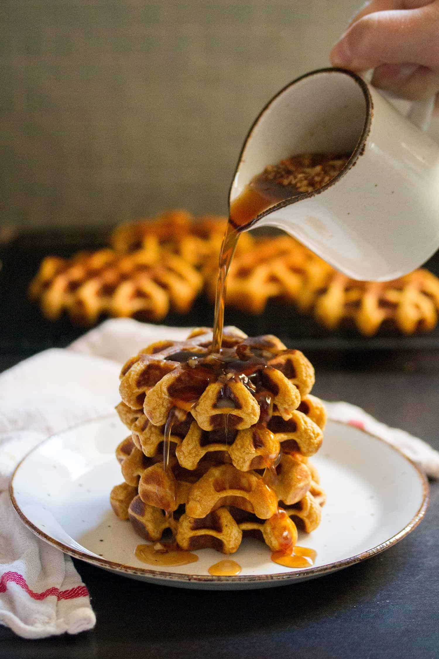 Therefore I Yam: Sweet Potato Waffles with Maple-Chipotle Syrup