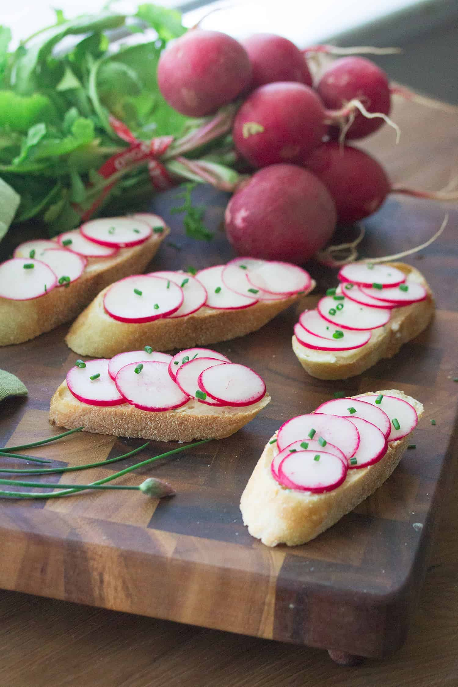 Positively Radishing: Radish Toasts with Chive Butter
