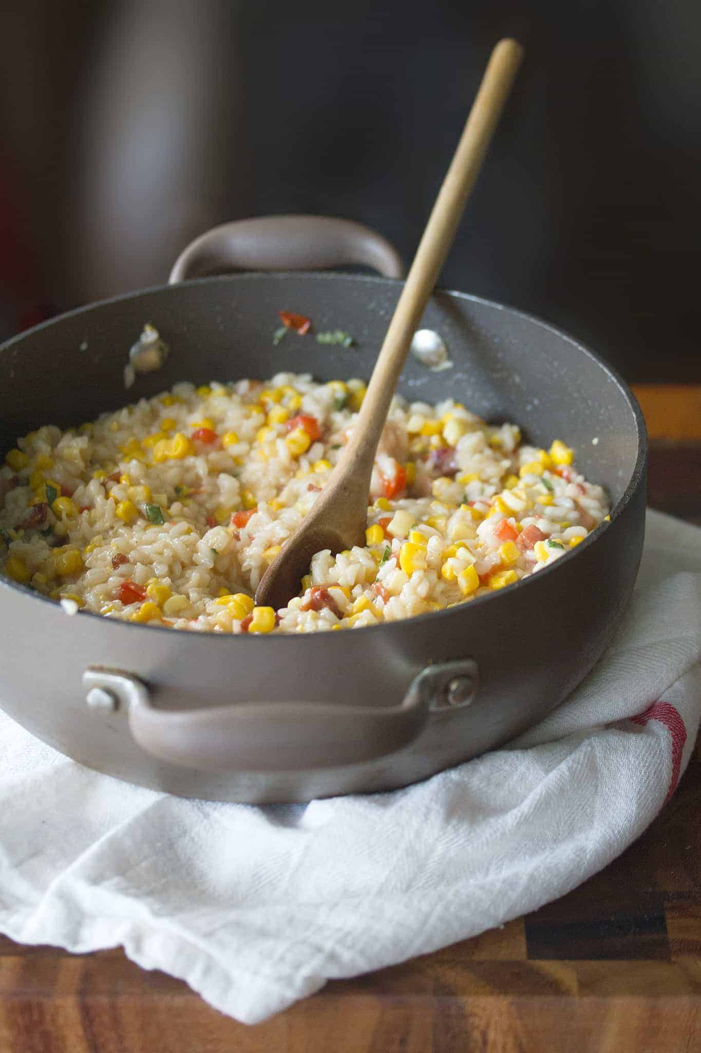 A-Maize-Ing Grace: Red Pepper, Corn and Bacon Risotto