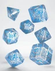 Polydice 7 Dobbelstenenset Transparent Blue Elvish Q-Workshop