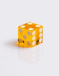 Casino Dobbelstenen Geel met Wit 19mm