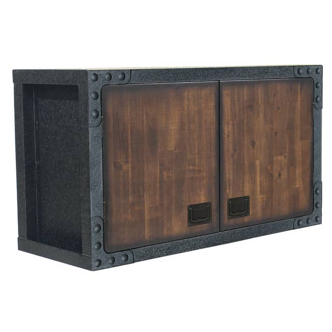 Industrial Metal and Wood Wall Cabinet