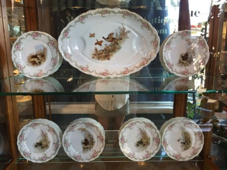 LS & S Austria Carlsbad Antique Game Bird Platter and Plate Set
