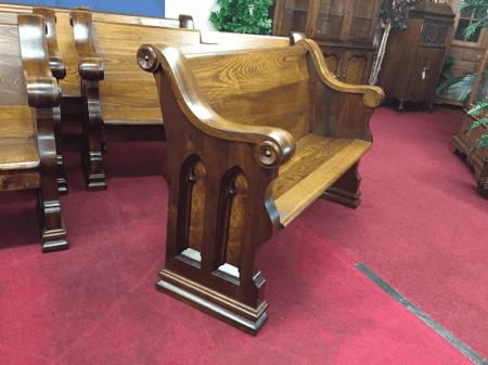 """Antique Walnut and Ash Church Pew - 4 ft 7"""""""