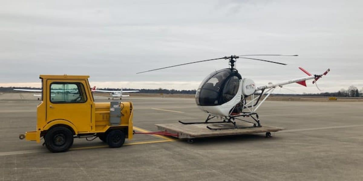 ETL Aviation's tug for towing the training helicopter at Blue Grass Airport