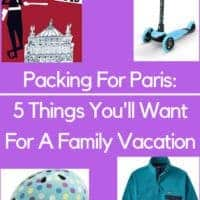 Paris is a fun city to visit with kids. With unpredictable weather, great public pools and great neighborhoods to see on foot, packing these 5 extra things will make your trip so much better. #paris #france #vacation #kids #packing #tips
